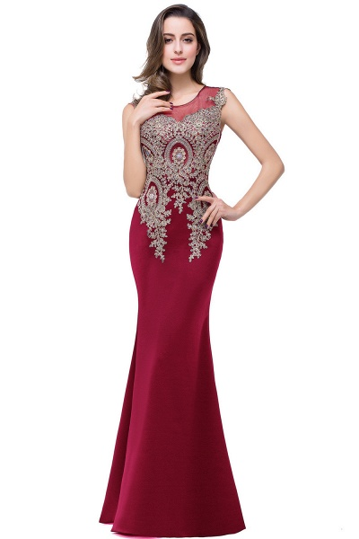 HUNTER   Mermaid Scoop Floor Length Plus size Sleeveless Appliques Burgundy Evening Dresses_13