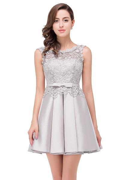 A-line Lace Knee-length Satin Homecoming Dress_5
