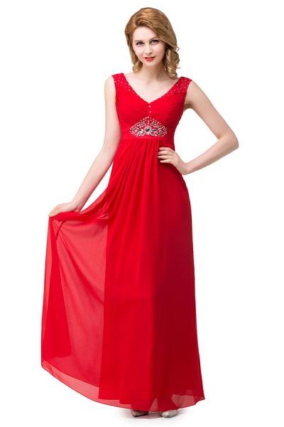 V-neck Chiffon A-line Knee Length Bridesmaid Dress_3