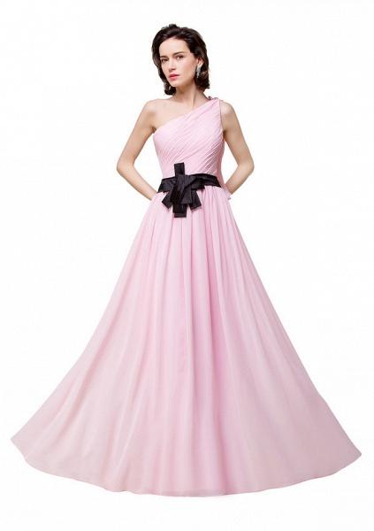 One Shoulder Chiffon A-line Floor Length Bridesmaid Dress_4