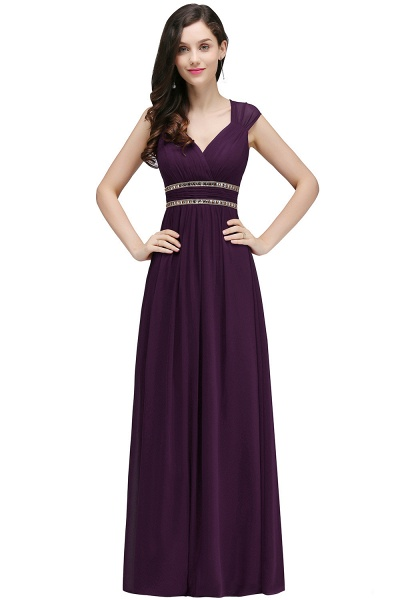 V-neck Cap Sleeves Chiffon Column Floor Length Bridesmaid Dress_3