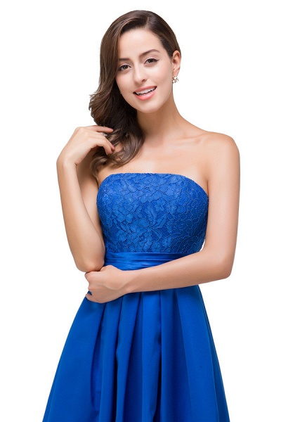Strapless Taffeta A-line Floor Length Bridesmaid Dress_5
