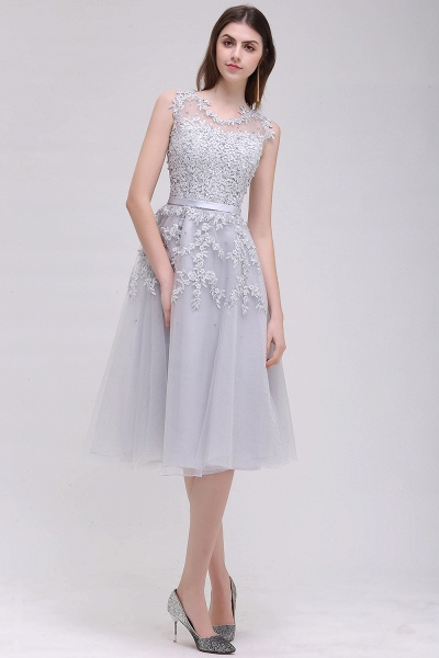 EMORY | A-Line Crew Tea Length Lace Appliques Short Prom Dresses_6