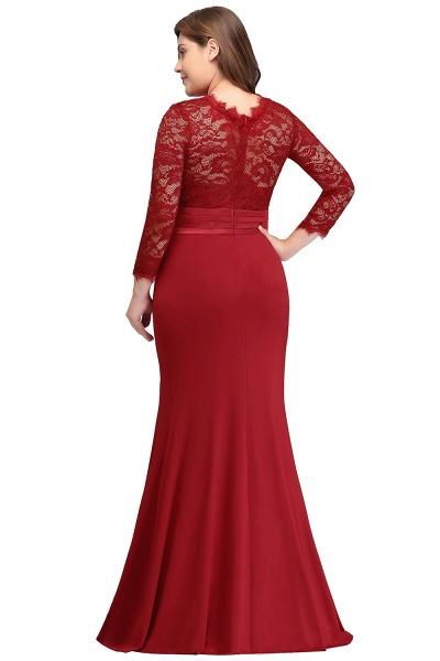 JACQUELINE | Mermaid Crew Floor Length Plus size Lace Formal Dresses with Sash_6
