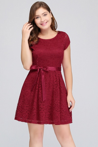 JALIYAH | A-Line Scoop Short Plus size Short Sleeves Lace Burgundy Cocktail Dresses with Bow_4