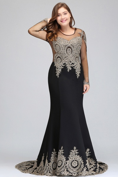 ISABELLE | Mermaid Crew Floor Length Plus size Long Sleeves Evening Dresses with Appliques_5