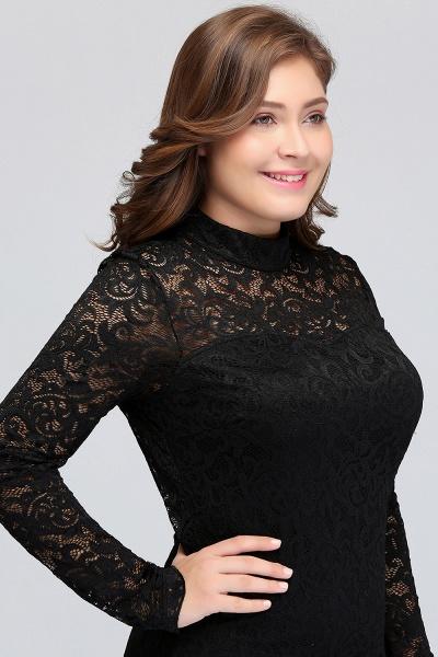JANE | Mermaid Crew Short Plus size Long Sleeves Lace Black Cocktail Dresses_8