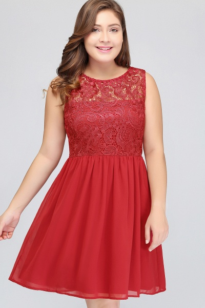 HENLEY | A-Line Crew Short Sleeveless Lace Chiffon Red Cocktail Dresses_7