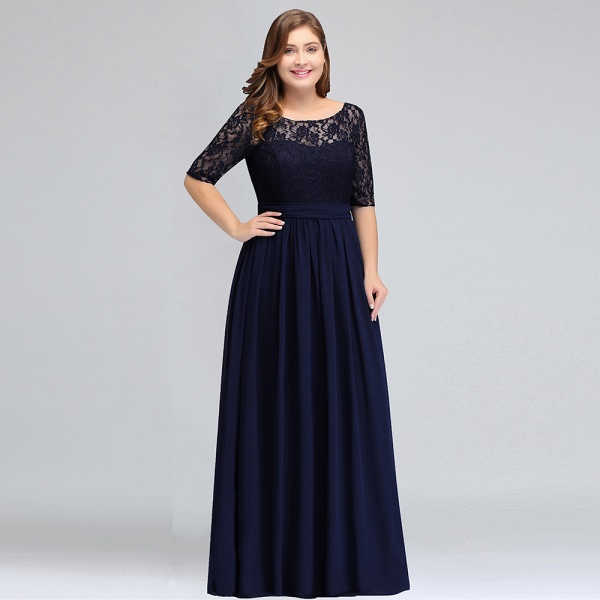 Short Sleeves Lace A-line Floor Length Bridesmaid Dress_9