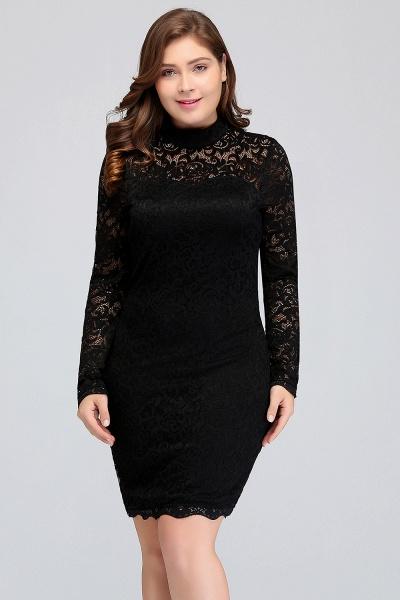 JANE | Mermaid Crew Short Plus size Long Sleeves Lace Black Cocktail Dresses_6