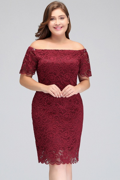 JAYDA | Mermaid Off-Shoulder Short Plus size Lace Burgundy Cocktail Dresses with Sleeves_8
