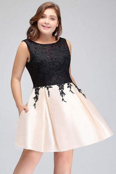 ISABELLA | A-Line Scoop Short Sleeveless Plus size Cocktail Dresses with Appliques_4