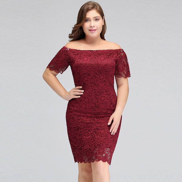 JAYDA | Mermaid Off-Shoulder Short Plus size Lace Burgundy Cocktail Dresses with Sleeves_9