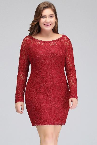 JANELLE | Sheath Scoop Short Long Sleeves Plus size Lace Burgundy Cocktail Dresses_5