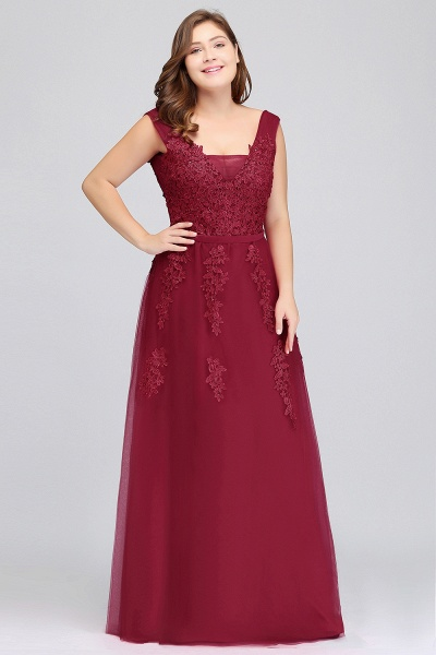 IRIS | A-Line Bateau Long Plus size Sleeveless Evening Dresses with Appliques_5