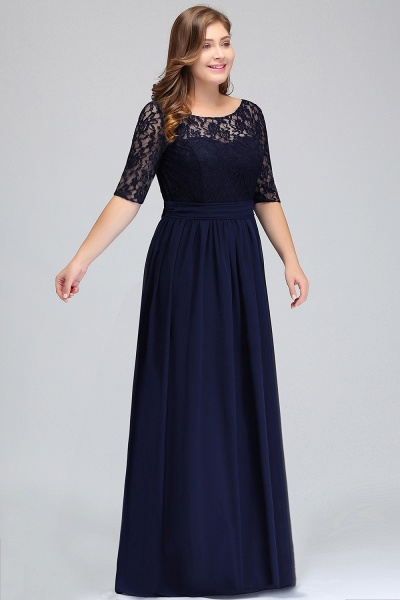 Short Sleeves Lace A-line Floor Length Bridesmaid Dress_5