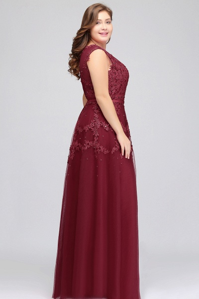 IRENE | A-Line Crew Floor Length Sleeveless Plus size Tulle Appliqued Evening Dresses with Crystals_9
