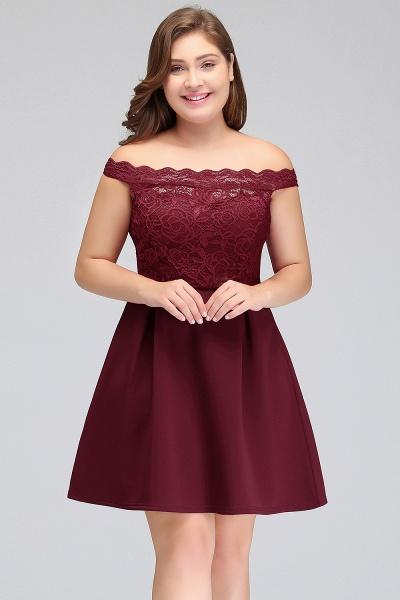 JAYCEE | A-Line Off-Shoulder Short Lace Chiffon Plus size Lace Burgundy Cocktail Dresses_5
