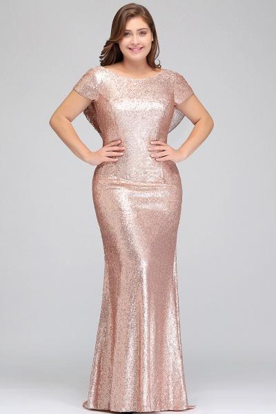 ISABEL | Mermaid Bateau Short sleeves Plus size Floor Length Sequins Formal Dresses_5