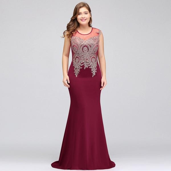 HUNTER   Mermaid Scoop Floor Length Plus size Sleeveless Appliques Burgundy Evening Dresses_12