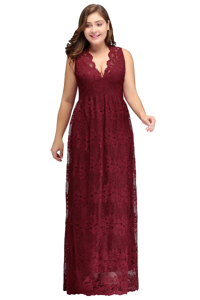 JADE | A-Line V-neck Floor Length Sleeveless Plus size Lace Burgundy Evening Dresses_1