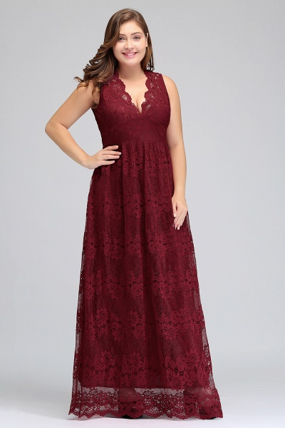 JADE | A-Line V-neck Floor Length Sleeveless Plus size Lace Burgundy Evening Dresses_8