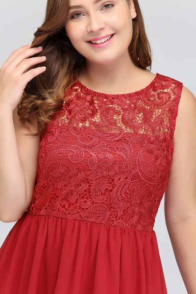 HENLEY | A-Line Crew Short Sleeveless Lace Chiffon Red Cocktail Dresses_10