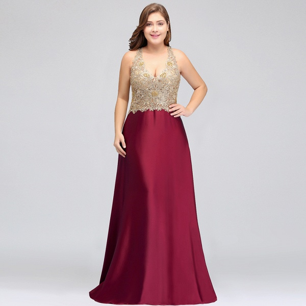 ISABELA   A-Line V-neck Plus size Long Sleeveless Evening Dresses with Appliques_9