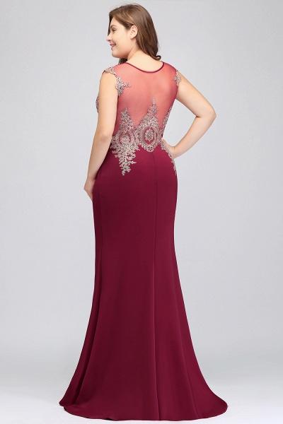 HUNTER   Mermaid Scoop Floor Length Plus size Sleeveless Appliques Burgundy Evening Dresses_11