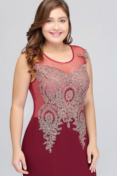 HOPE | Mermaid Appliques Crew Floor Length Sleeveless Burgundy Plus Size Evening Dresses_5