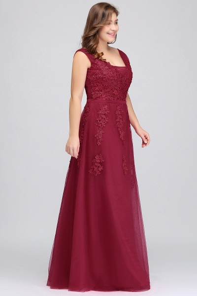 IRIS | A-Line Bateau Long Plus size Sleeveless Evening Dresses with Appliques_9