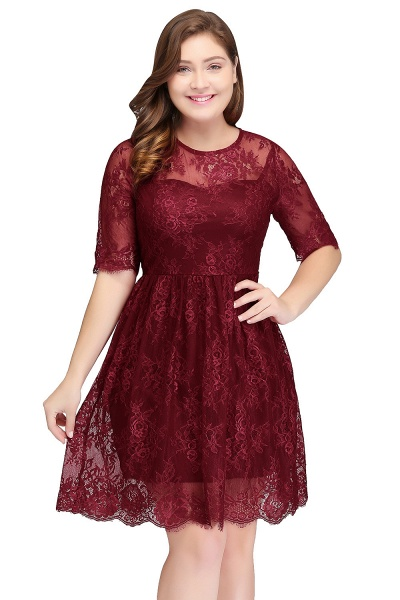 JASMINE | A-Line Crew Plus size Half Sleeves Short Lace Burgundy Cocktail Dresses_1