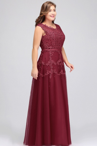 IRENE | A-Line Crew Floor Length Sleeveless Plus size Tulle Appliqued Evening Dresses with Crystals_3