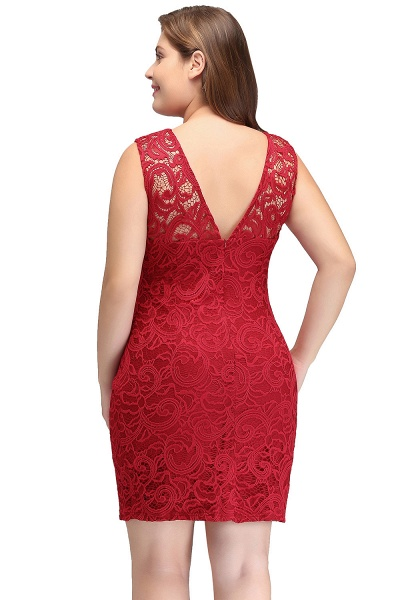 JAMIE | Mermaid Scoop Plus size Short Sleeveless Lace Cocktail Dresses_3
