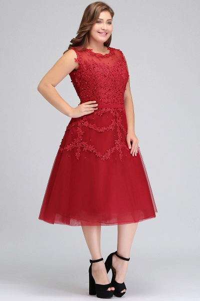 IRELAND | A-Line Crew Tea Length Plus size Sleeveless Tulle Burgundy Cocktail Dresses with Appliques_3