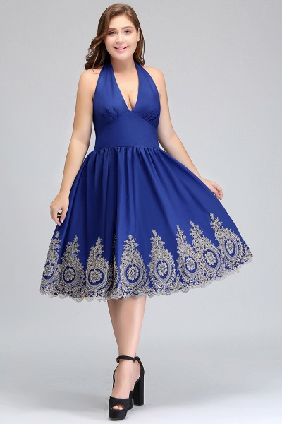 IZABELLA | A-Line V-neck Halter Plus size Tea Length Cocktail Dresses with Appliques_11