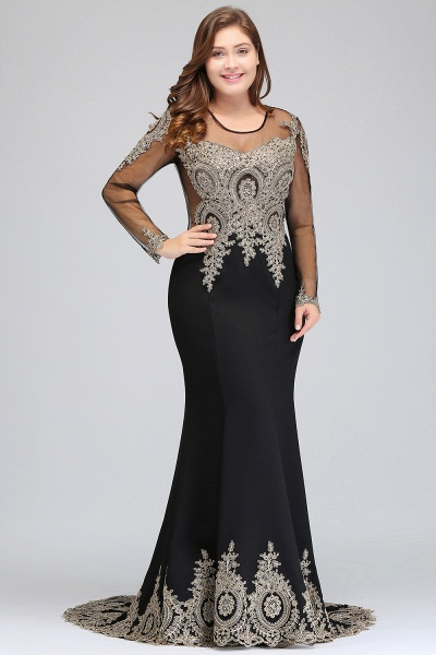 ISABELLE | Mermaid Crew Floor Length Plus size Long Sleeves Evening Dresses with Appliques_4