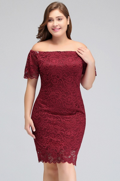 JAYDA | Mermaid Off-Shoulder Short Plus size Lace Burgundy Cocktail Dresses with Sleeves_6