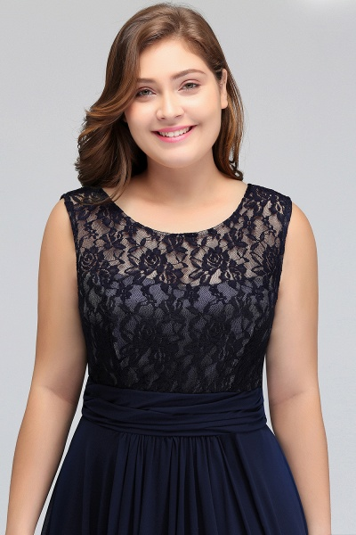 IVY | A-Line Crew Long Plus size Sleeveless Dark Navy Formal Dresses with Lace_9