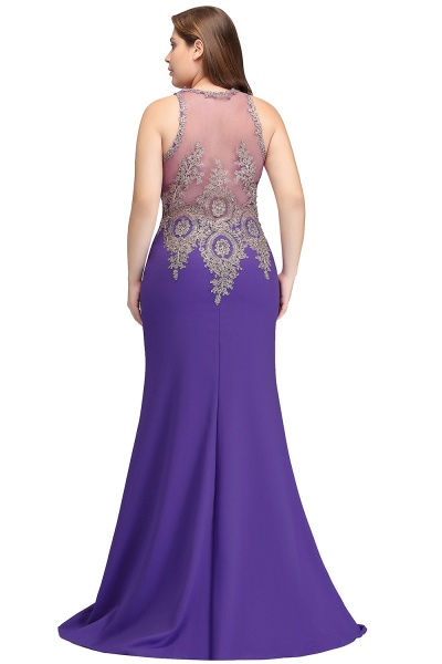 IVORY | Mermaid Crew Floor Length Sleeveless Plus size Evening Dresses with Appliques_3