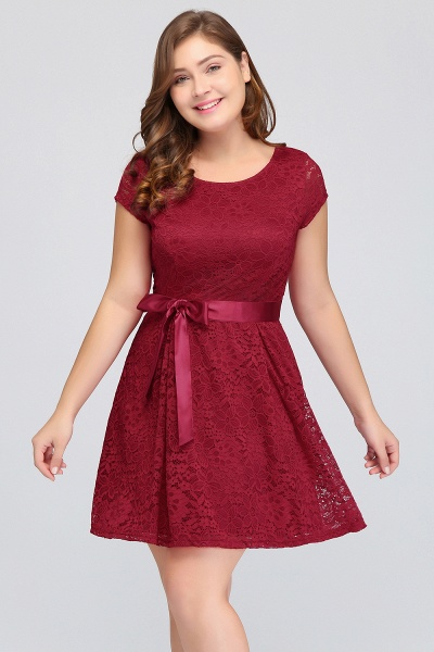 JALIYAH | A-Line Scoop Short Plus size Short Sleeves Lace Burgundy Cocktail Dresses with Bow_5