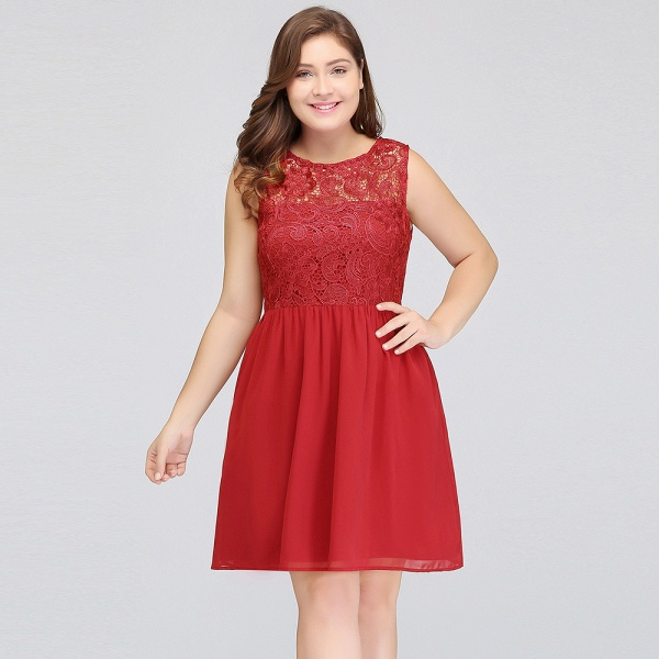 HENLEY | A-Line Crew Short Sleeveless Lace Chiffon Red Cocktail Dresses_9
