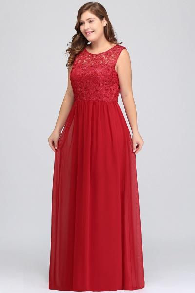 ISLA | A-Line Crew Floor Length Sleeveless Plus size Lace Chiffon Evening Dresses_5