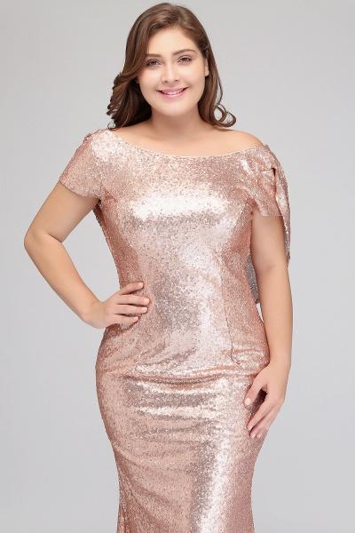 ISABEL | Mermaid Bateau Short sleeves Plus size Floor Length Sequins Formal Dresses_10