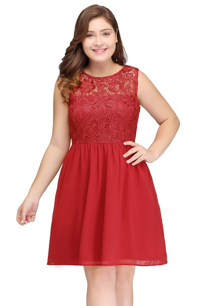 HENLEY | A-Line Crew Short Sleeveless Lace Chiffon Red Cocktail Dresses_1