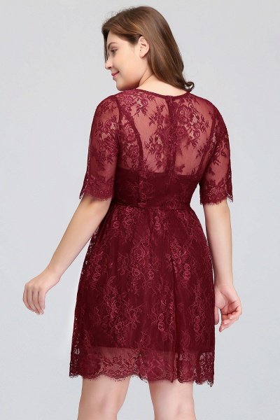 JASMINE | A-Line Crew Plus size Half Sleeves Short Lace Burgundy Cocktail Dresses_9