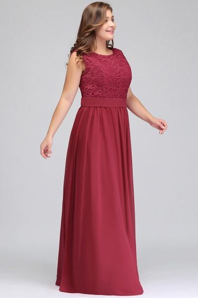 ITZEL | A-Line Crew Long Plus size Sleeveless Lace Chiffon Evening Dresses with Sash_9