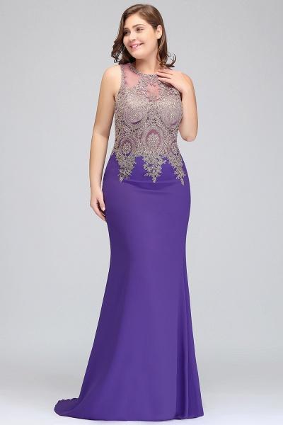 IVORY | Mermaid Crew Floor Length Sleeveless Plus size Evening Dresses with Appliques_4