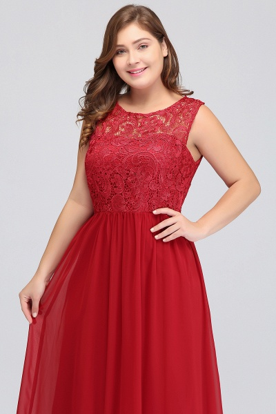 ISLA | A-Line Crew Floor Length Sleeveless Plus size Lace Chiffon Evening Dresses_9