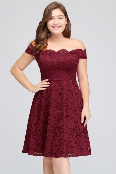 JANIYA | A-Line Off-Shoulder Knee Length Plus size Lace Burgundy Cocktail Dresses_4